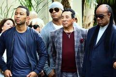 John Legend LL Cool J Smokey Robinson Stevie Wonder. Attend Walk of Fame Ceremony for Ken Ehrlich Stock Photography