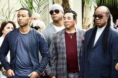 John Legend LL Cool J Smokey Robinson Stevie Wonder. Attend Walk of Fame Ceremony for Ken Ehrlich Royalty Free Stock Photography
