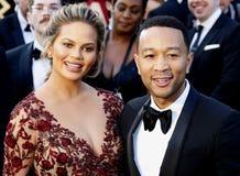 John Legend och Chrissy Teigen royaltyfria bilder