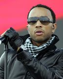 John Legend performs in concert. At the Tailgate 2009 fan zone prior to Super Bowl XLIII featuring the Arizona Cardinals vs. the Pittsburgh Steelers at Raymond stock photos
