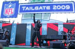 John Legend performs in concert. At the Tailgate 2009 fan zone prior to Super Bowl XLIII featuring the Arizona Cardinals vs. the Pittsburgh Steelers at Raymond royalty free stock image