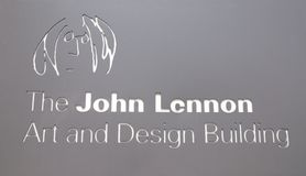 The John Lennon Art and Design Building sign. Royalty Free Stock Photo