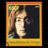 John Lennon Beatles Postage Stamp from Congo. REPUBLIQUE DU CONGO - CIRCA 2007: A postage stamp portraying an image of John Lennon, one of the Beatles, circa Stock Photo