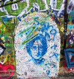John lennon graffiti portrait. On the wall royalty free stock photos