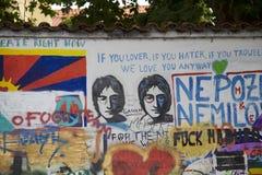 John Lennon muur in Praag stock afbeelding