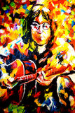 John Lennon Oil Painting on Canvas by Leonid Afremov. An oil painting on canvas of the famous musician John Lennon made by world renowned artist Leonid Afremov stock image