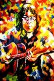 John Lennon Oil Painting op Canvas door Leonid Afremov stock afbeelding