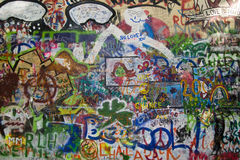 John Lennon's Wall, Prague. Graffiti on the Lennon Wall stock image