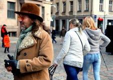 On John Lennon 75th Anniversary Riga Festival. On Dome square Riga Latvia stock image