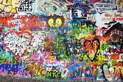 John Lennon Wall est un mur à Prague, République Tchèque image libre de droits