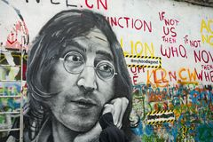 John Lennon wall in the Little Town area of Prague royalty free stock photography