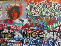 John Lennon Wall, Praga, repubblica Ceca Fotografia Stock Libera da Diritti