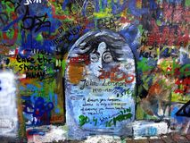 John Lennon Wall Prague. The Lennon Wall in Prague, Czech Republic. It changes every day royalty free stock photos