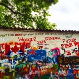 John Lennon Wall in Prague. Discoveries while exploring Stock Photography