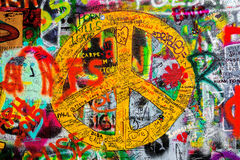 John Lennon Wall in Prague, Famous Tourist Sightseeing Royalty Free Stock Images