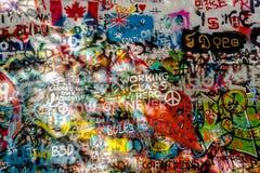 John Lennon Wall Tjeckien arkivbilder