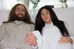John Lennon and Yoko Ono's Bed-In.Waxwork. Portrait of John Lennon and Yoko Ono's Bed-In, (Waxwork ) Musician member of the Beatles. This photo was taken at Stock Photos