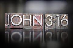 John 3:16 Letterpress. The verse JOHN:316 written in vintage lead letterpress type stock image
