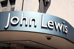 John Lewis sign. London, UK, Jun 29, 2011 : Exterior of the John Lewis department store in Oxford Street showing its name sign above its entrance Stock Image