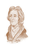 John Locke que graba el retrato del bosquejo del estilo