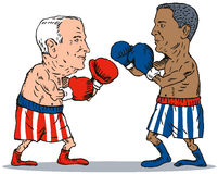 John McCain and barack Obama. John McCain  and Barack Obama portrait with flag in the background Stock Images