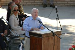 John McCain at Podium. US Republican Presidential candidate John McCain speaks at podium during veterans memorial dedication in Iowa Stock Photography