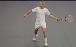 John McEnroe in acties Royalty-vrije Stock Afbeelding