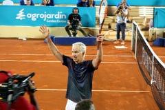 John McEnroe in a senior master tournement in Spain. John McEnroe celebrating winner point during tennis sennior match in Marbella city in Spain Stock Images