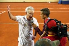 John McEnroe in a senior master tournement in Spain. John McEnroe interviewed after tennis match in Marbella in Cadiz Royalty Free Stock Photo