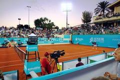 John McEnroe in a senior master tournement in Spain. John McEnroe playing during tennis sennior match in Marbella city in Spain Royalty Free Stock Photos
