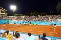John McEnroe in a senior master tournement in Spain. John McEnroe playing during tennis sennior match in Marbella city in Spain Stock Photos