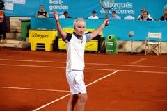 John McEnroe in a senior master tournement in Spain. John McEnroe celebrating winner point during tennis sennior match in Marbella city in Spain Stock Photos