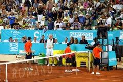John McEnroe during tennis sennior match in Marbella city in Spain. John McEnroe changing t-shirt in a break during tennis sennior match in Marbella city in Stock Photo