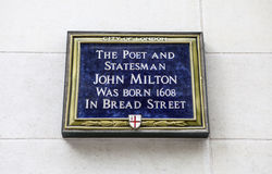 John Milton Blue Plaque in London Stock Photos
