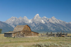 John Moulton Barn. Just east of the Grand Teton mountains in Western Wyoming royalty free stock image