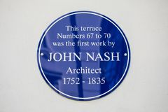 John Nash Plaque à Londres Photographie stock libre de droits
