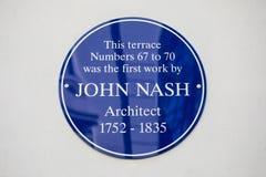 John Nash Plaque a Londra Fotografia Stock Libera da Diritti