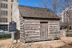 John Neely Bryan Cabin an der Pionierpiazza in Dallas, Texas Lizenzfreie Stockfotografie