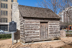John Neely Bryan Cabin at Pioneer Plaza in Dallas,  Texas Royalty Free Stock Photography