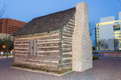 John Neely Bryan Cabin at Pioneer Plaza in Dallas,  Texas Royalty Free Stock Photos