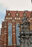 John of Nepomuk monument on square of Collegiate church of the Holy cross and St Bartholomew in Ostrow Tumski, Wroclaw, Poland stock image