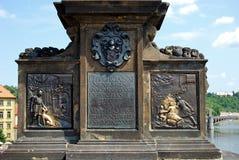 John of Nepomuk Statue Base, Prague. Stock Photos