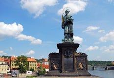 John of Nepomuk statue, Prague. Royalty Free Stock Image