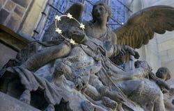 John of Nepomuk statue. Statue at Saint Vitus Cathedral, Prague, Czech Republic royalty free stock image