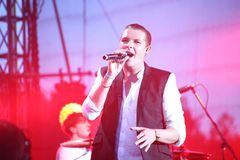 John Newman performs at 'Most festival' on July 3, 2014 in Milnsk, Belarus Royalty Free Stock Photo