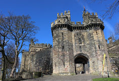 John O'Gaunt Gateway Lancaster Castle Lancashire. Which is now open to the public as a tourist attraction since the closure of the prison allowed use of this royalty free stock photography