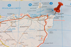 John O' Groats road map. With a red push pin Stock Image
