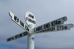 John O'Groats signpost. Detail of signpost in John O'Groats village, Scottish Highlands Royalty Free Stock Image