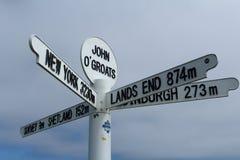 John O'Groats signpost. Detail of signpost in John O'Groats village, Scottish Highlands royalty free stock image