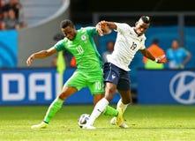 John Obi Mikel and Paul Pogba Coupe du monde 2014 Stock Photo